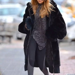 Faux Fur Winter Coat with Large Hood