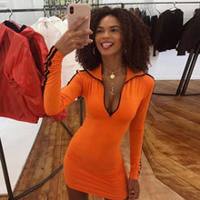 Load image into Gallery viewer, Hot Sass Orange and Black Bodycon Mini Dress