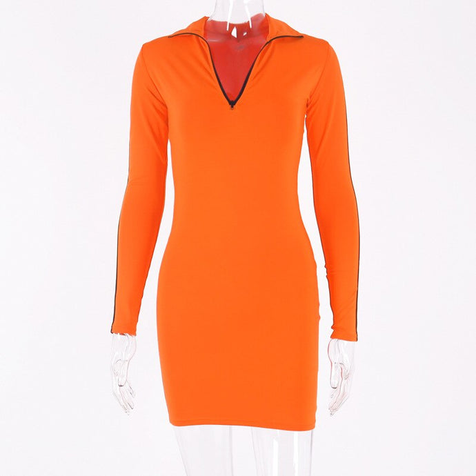Hot Sass Orange and Black Bodycon Mini Dress