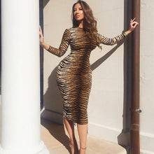Load image into Gallery viewer, Hot Sass Tiger Print Bodycon Midi Dress