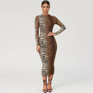 Hot Sass Tiger Print Bodycon Midi Dress