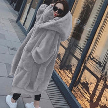 Load image into Gallery viewer, Light Grey Faux Fur Coat With Large Hood