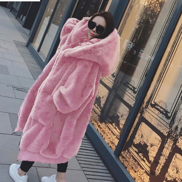 Light Pink Faux Fur Coat with Large Hood