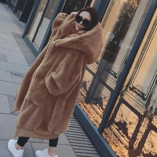 Light Brown Khaki Faux Fur Coat with Large Hood