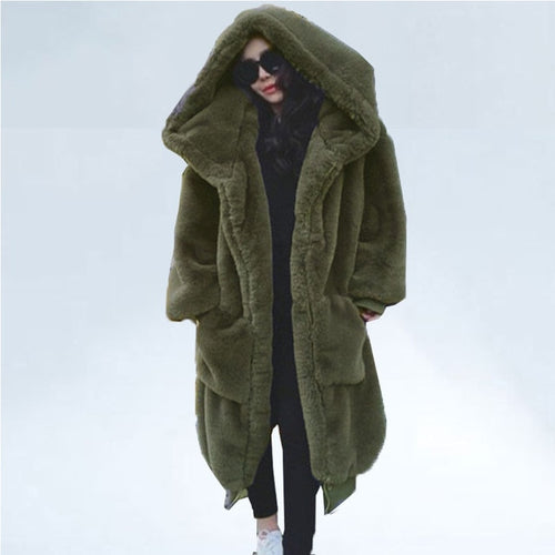 Green Khaki (Sage) Faux Fur Coat with Large Hood