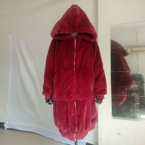 Faux Fur Wine/Burgundy  Coat with Large Hood