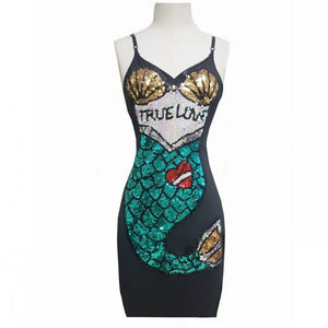 Sassy Mermaid Sequin Mesh Dress