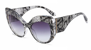 True Sass Snakeskin Pattern Big Cat Eye Sunglasses