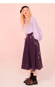 True Sass PU A Line Midi Skirt
