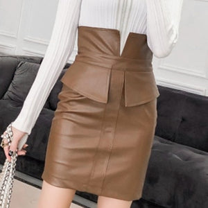 Super Sass -High Waist PU Mini Skirt
