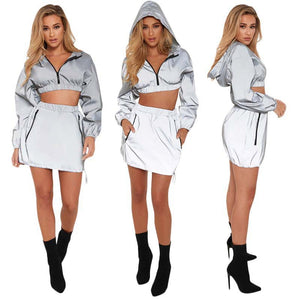 True Sass Reflective Mini Skirt Coord (2 Piece)