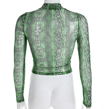 Load image into Gallery viewer, Mesh Snake Print Crop Top