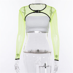 Transparent Green Mesh Top with buckle