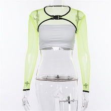 Load image into Gallery viewer, Transparent Green Mesh Top with buckle