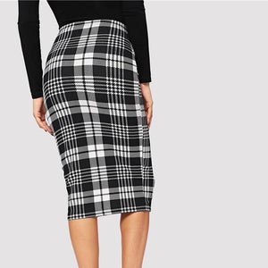 True Sass Plaid Midi Skirt