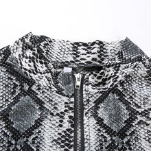 Load image into Gallery viewer, Snake Print Zip Up Crop Top