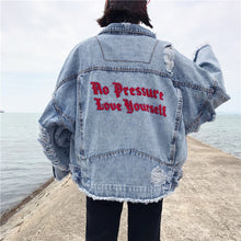 Load image into Gallery viewer, Sassy No Pressure Love Yourself Women's Denim Jacket