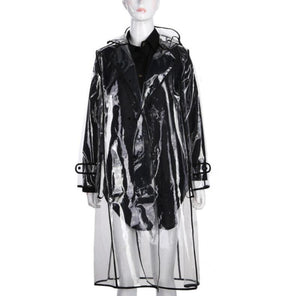 True Sass Women's Transparent Trench Coat Raincoat