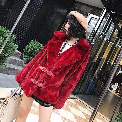 Burgundy Faux Fur Buckle Jacket