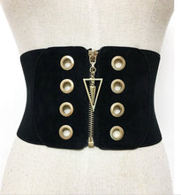 Load image into Gallery viewer, Women's high waisted zip belt gold circular detail