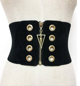 Women's high waisted zip belt gold circular detail