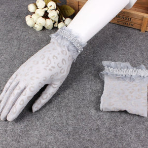 See Through Lace Animal Print Gloves