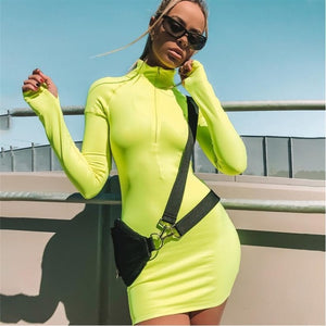 True Sass Neon Mini Dress with Zip