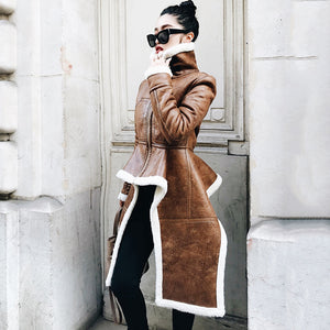 True Sass - Brown Multi Length Faux Leather and Faux Sheepskin Coat