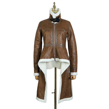 Load image into Gallery viewer, True Sass - Brown Multi Length Faux Leather and Faux Sheepskin Coat