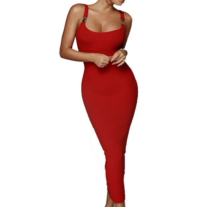 Sassy Sexy Bodycon Midi Dress with gold Strap Detail