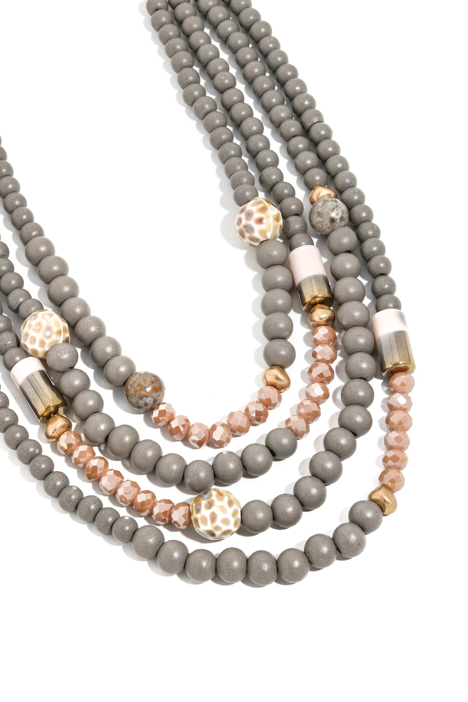 Gray Layered Bead Necklace