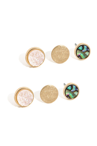 Triple Disc Stud Earrings