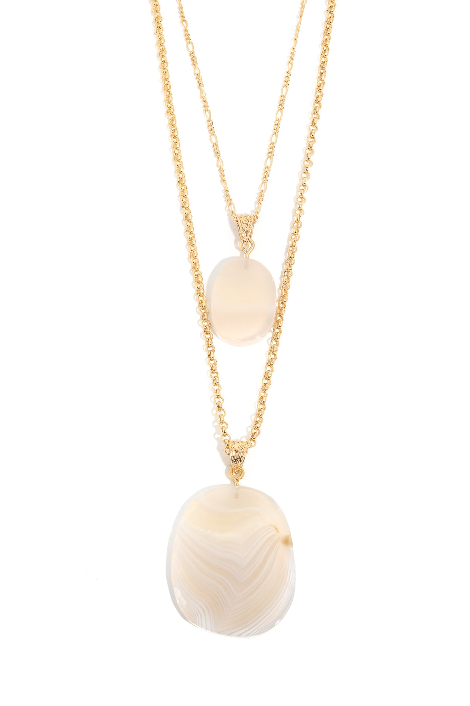 Double Stone Pendant Layered Necklace