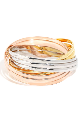 Tri-Color Metallic Bangle Bracelet