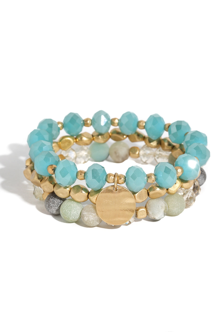 Aqua and Gold Beaded Bracelet