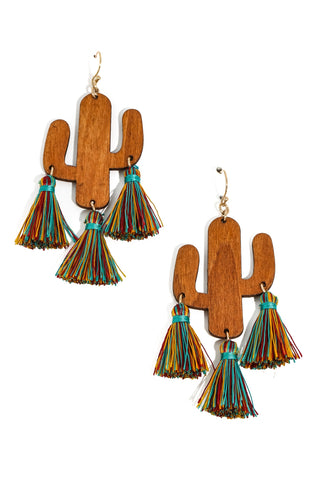 Wooden Cactus Tassel Earrings