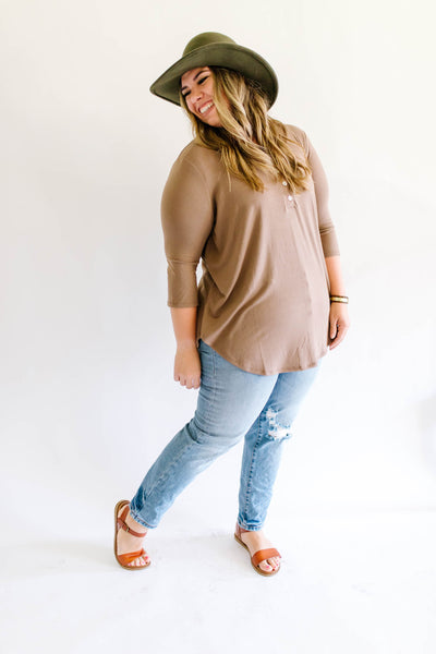 Basic Button Up Top Coffee Plus