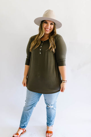 Basic Button Up Top Olive Plus