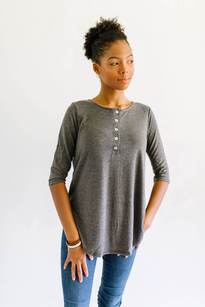 Basic Button Up Top Charcoal