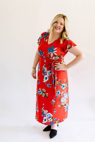 Sassy Red Floral Dress