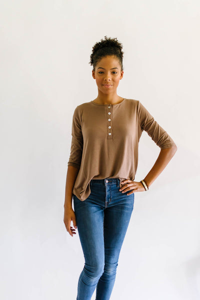Basic Button Up Top Coffee