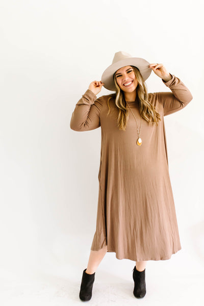 Soft Swing Dress Coffee Plus