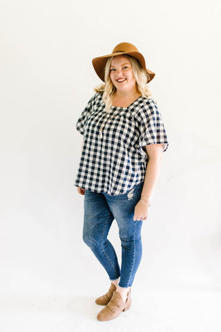 Navy Gingham Blouse