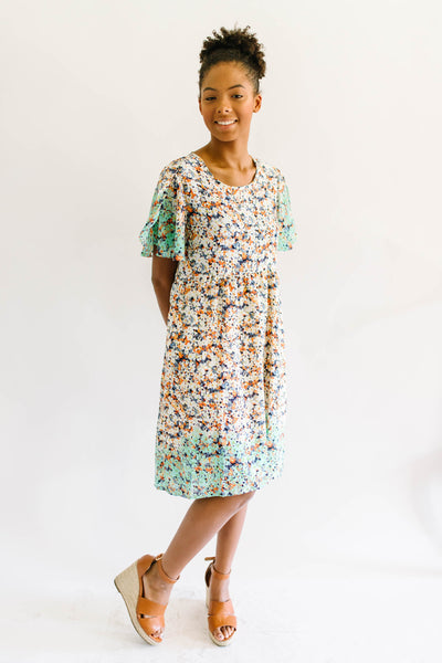 Mint Dipped Floral Dress