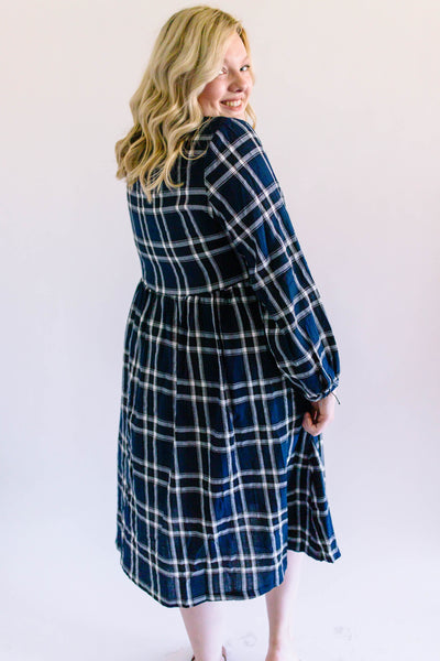 Blue Plaid Button-Up Dress