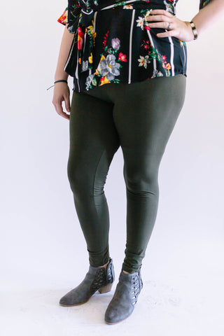 Cottony Soft Leggings Olive Plus