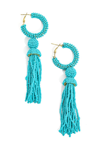 Beaded Turquoise Tassel Earrings