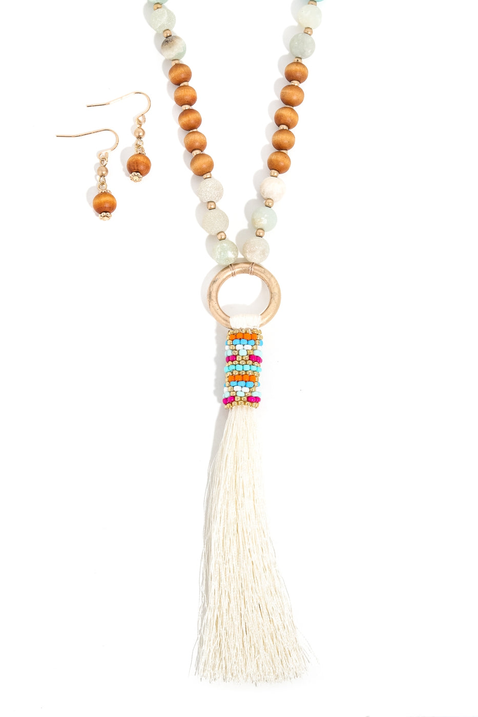 Tassel Pendant Beaded Necklace