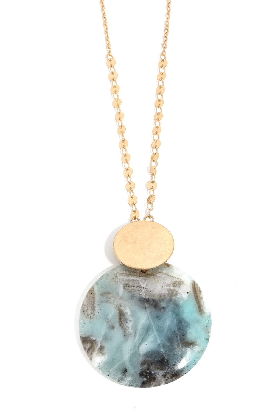 Stone Disc Charm Necklace