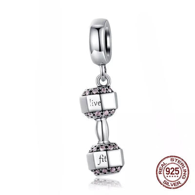 Authentic 925 Sterling silver bracelet/necklace Live/Lift Barbell charm